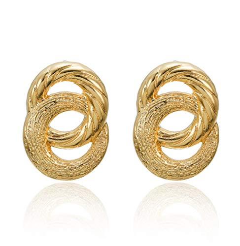 Yhhzw Pendientes De Metal Para Mujer Pendientes Colgantes De Oro De Círculo Grande De Doble Capa Joyería De Moda