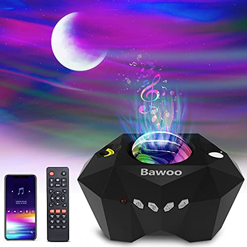 Bawoo Proyector Estrellas, Proyector Galaxia Aurora Polar con Altavoz Bluetooth Control Remoto, Múltiples Modos de Luz Proyector Infantil Decoración para Dormitorio/Fiestas, Regalo para Niños/Amigos