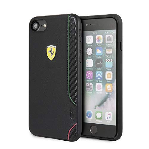 Ferrari per iPhone SE (2020) per iPhone 8 per iPhone 7 Custodia nera con finitura in gomma con bordi in fibra di carbonio, porte facilmente accessibili, licenza ufficiale.