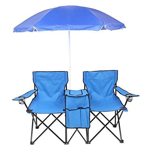 Silla de Camping Doble al Aire Libre, toldo con Sombra de Asiento de Camping Doble, sillas de Playa Plegables portátiles Taburete Doble de Picnic, para Playa, Patio, Piscina, parqu