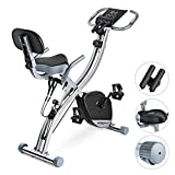 Folding Exercise Bike Magnetic, Upright Recumbent Indoor Workout Exercise Bike with Front and Back Arm Resistance Bands LCD Monitor Pulse Sensor Phone Holder for Cardio Workout and Strength Training