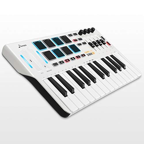 Controlador de Teclado MIDI DMK25, Donner Professional Sintetizador de 25 Teclas Mini USB Beat Pad con 8 Pads de Batería Retroiluminados 4 Perillas 4 Controles Deslizantes, Blanco