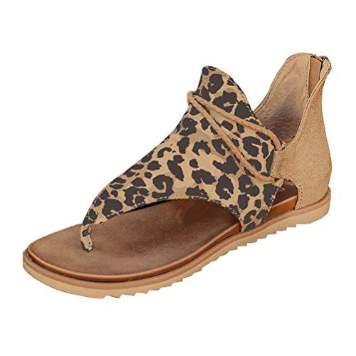 Minetom Damen Sommer Flat Heel Round Toe Back Reißverschluss Sandalen Flip Flop Schuhe Leopard Druck 41 EU