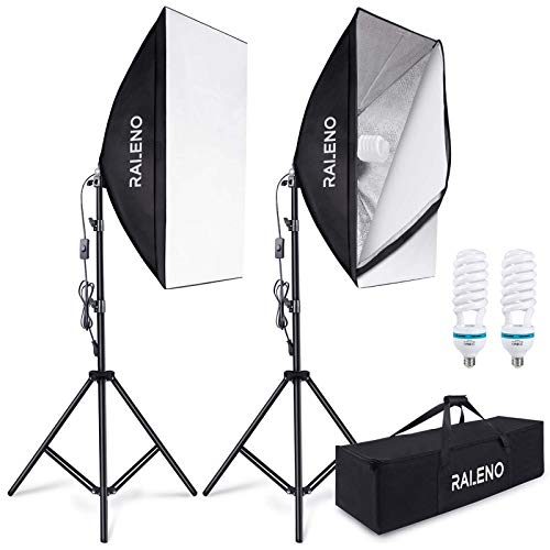 RALENO 800W Softbox Photography Lighting Kit 2X20X28 inch Professional Photography Continuous Lighting Equipment with 2 x E27 Socket 5500K Bulbs for Portraits and Product Shooting