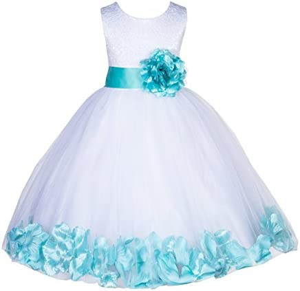 White Lace Top Tulle Floral Petals Flower Girl Dress Christening Dresses 165S S product image