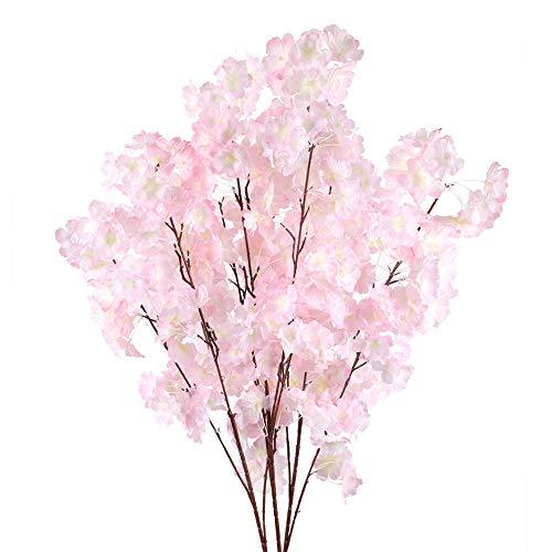 XHXSTORE 3PCS Künstliche Blumen Kirschblüte Kunstblumen Seide Blumen deko Plastikblumen für Party Büro Hochzeit Balkon Garten Vase Blumenschmuck Dekoration Hellrosa