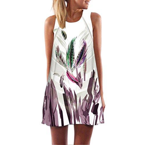 VEMOW 2018 Vintage Boho Elegante Damen Frauen Lose Sommer Sleeveless 3D Blumendruck Bohe Casual Täglichen Party Strand Tank Minikleid(Weiß, 46 DE/XL CN)