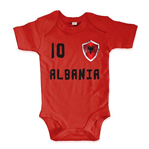 net-shirts Organic Baby Body mit Albania Albanien Shqipëria Trikot 02 Aufdruck Fußball Fan WM EM Strampler - Spielernummer wählbar, Größe 00-03 Monate-Spielernummer 10