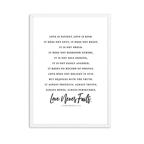 FRTTCYO póster Póster e Impresiones del versículo de la Biblia El Amor es Paciente Carta de Amor Impresión de Arte de Pared Citas cristianas Lienzo de Pintura Carteles en la Pared -50x70x1 Sin Marco