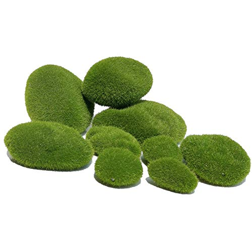 IWILCS 20 Stück 3 Größe Künstliche Moos Steine, Grüne Moosbälle, Künstliche Moosfelsen, Künstliche Moos Rocks Dekorative, Grüne Moosbälle, Fee Garten Moos Felsen, für Blumenarrangements, Terrarien