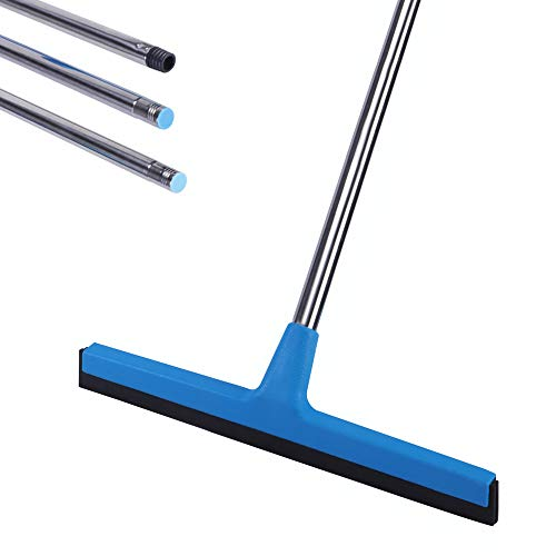 "Ulihome Floor Squeegee with Long Handle - 51"" Extendable Concrete Floor Cleaner Wiper, Wide Water Pusher Foam Broom Squeegy for Garage, Deck, Shower, and Outside Windows"