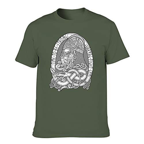 Cuello redondo para hombre, camiseta vikinga Odin con casco celta y nudos, impresión mágica con escudo verde militar XXXL