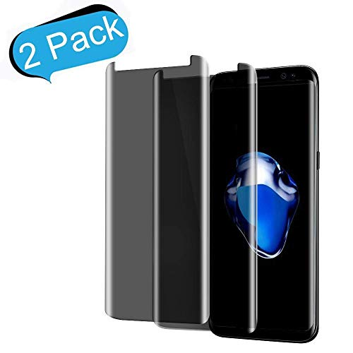 [2-Pack] Galaxy S8 Plus Privacy Tempered Glass Screen Protector CTREEY [3D Curved] [Case-Friendly] for Samsung Galaxy S8 Plus[Anti Spy][9H Hardness][No Bubble][Anti-Scratch] Film (Black)