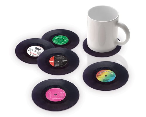 6er Set Glasuntersetzer Schallplatte im Retro Vinyl Style (tolle Geschenkidee für Musik Fans)