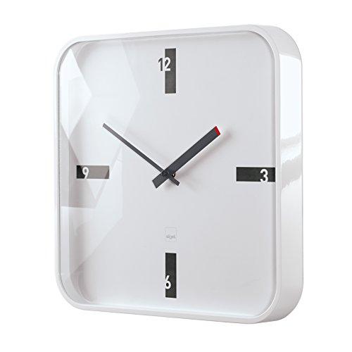 Sigel WU122 moderne, große Design-Wanduhr, Modell mezo, weiß, 35x35 cm, reddot design award 2014 Gewinner