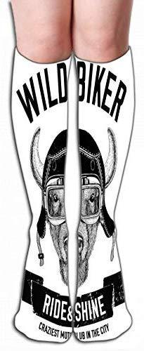 Outdoor Sport Hoge Sokken Voorraad vintage beelden buffalo bison ox ontwerp motorfiets motorfiets scooter club aero club hand getekende afbeelding Tegel lengte