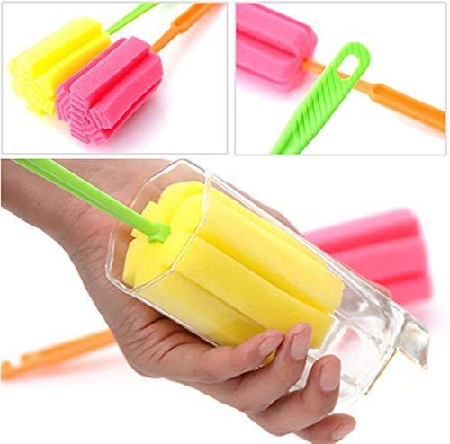 1 cepillo limpiador de esponja con mango largo para limpiar vasos de botellas de vidrio, limpiador de biberones, botella de porcelana Chinaware, taza de café, fondo de taza (color al azar)