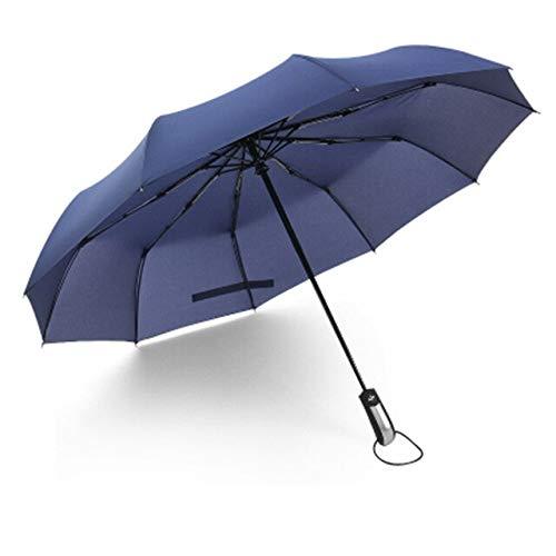 ZGMMM Vollautomatischer dreifacher Taschenschirm für Herren Winddichter automatischer Regenschirm Schwarze Damen-Sonnenschirme Automatischer Sonnenschutz Russische Föderation Marineblau