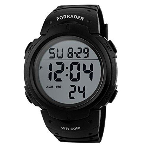 Forrader Sport-Armbanduhr, Unisex, wasserdicht, digital, LED, Stoppuhr, Chronograph, Schwarz