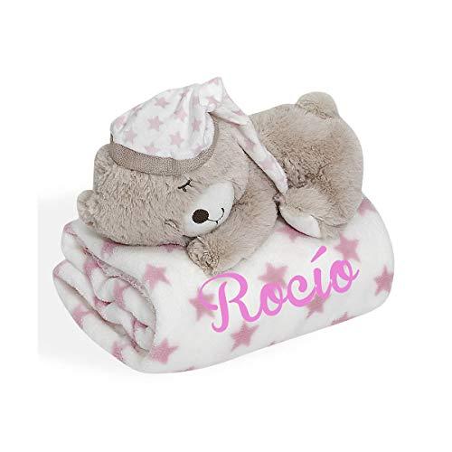 Set manta bebe BORDADA con nombre y peluche osito a juego (rosa)