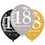 amscan 10022452 990736 - Latexballons 18 Happy Birthday, 6 Stück, Luftballons, Geburtstag, Dekoration