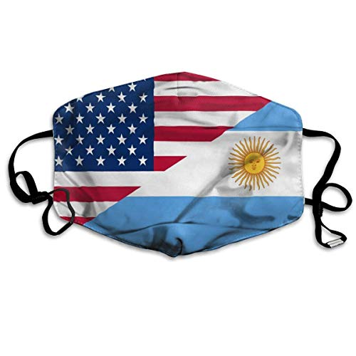 Adjustable Decorative Masks,Waving Flag of Argentina and USA Unisex Adult Ear Loop Face - Anti Dust Warm Cycling Mouth Various Use Mouth