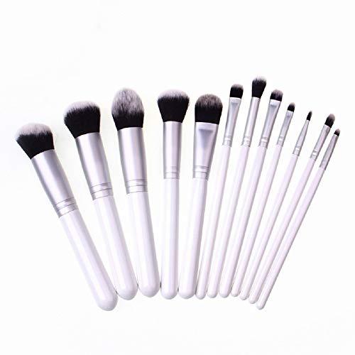 Outil De Beauté 12 Manche En Bois Brosse De Maquillage De Cheveux En Fibre Bicolore Ensemble Pinceau De Fard À Paupières Blush Pinceau De Fondation Blanc