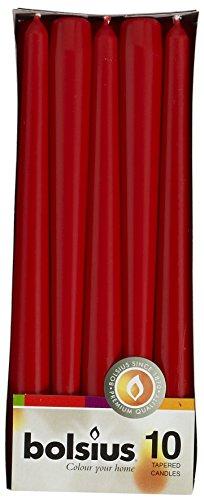 Ivyline Bolsius 103600352241 - Velas de Cera (10 Unidades, 245 x 24 mm), Color Rojo