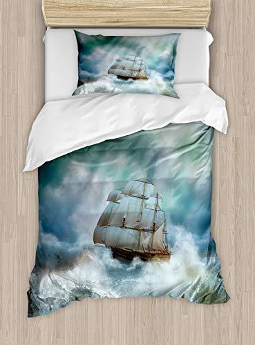 ABAKUHAUS Oceano Funda Nórdica, Barco Pirata En Mar Ondulado, 1 Funda para Almohada Set Decorativo de 2 Piezas, 264 x 220 cm, Azul Gris Y Blanco