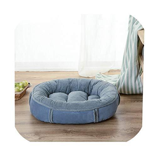 FairyLi Ronde Hond Bed Voor Hond Kat Winter Warm Slaap Ligstoel Mat Puppy Kennel Huisdier Bed Machine Wasbaar, L 95x80x20cm, Blauw