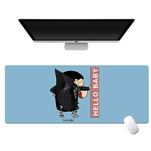 yinying Alfombrilla de ratón de Anime,Crayon Shin-Chan Anime Alfombrilla de ratón Teclado de computadora Escritorio-Muro de contrafuerte de Fondo Azul_800x300mm_3 mm