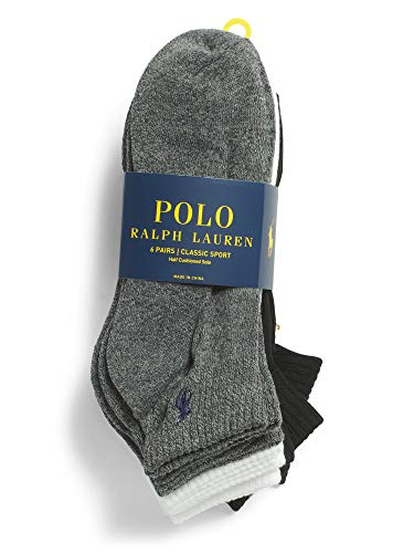Polo Ralph Lauren - 6er Pack Athletic Socken - Einheitsgröße (EU 39 - EU 45) - Grau Weiß Schwarz