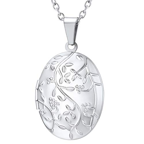 U7 Locket Necklace Girls Platinum Cute Oval Blooming Flower Grain Pendant that Hold Picture