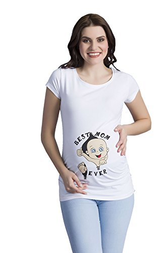 Best Mom Ever - Camiseta premamá Divertida con impresión para el Embarazo, Manga Corta (Blanco, Medium)