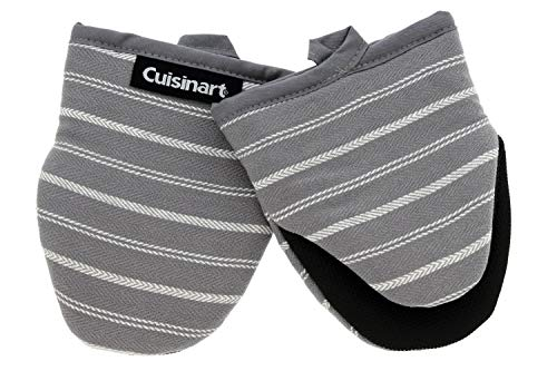 Cuisinart Neoprene Mini Oven Mitts, 2pk-Heat Resistant Oven Gloves Protect Hands and Surfaces with Non-Slip Grip and Hanging Loop-Ideal Set for Handling Hot Cookware, Bakeware-Twill Stripe Titan. Grey