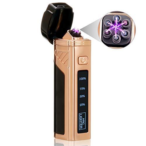 NASUM Mechero Eléctrico, USB Encendedor Eléctrico, Encendedor Eléctrico Arco sin Llama, Mechero con Cable USB, a Prueba de Viento, Recargable, Utilizado para Acampar, Barbacoa (Negro)