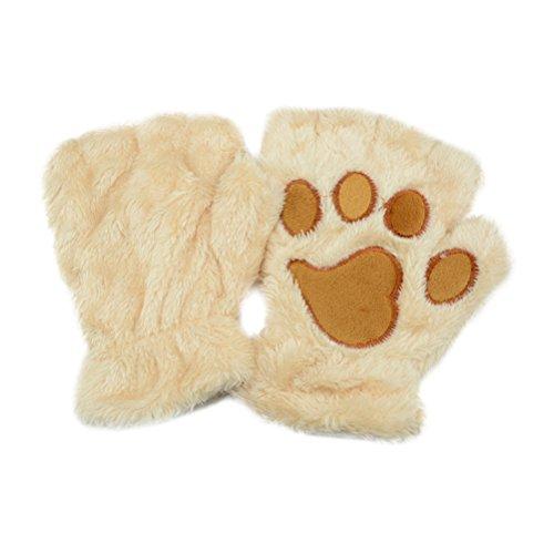 OULII Women Plush Mittens Gloves Short Fingerless Gloves Half Finger Gloves Cute Cat Claw Dog Paw Pattern (Beige), 3.9 x 3.9 x 0.4 inch