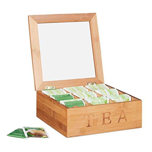 relaxdays Porta tè in bambù, 9 Scomparti, Organizer per Tisane, Quadrato, HLP: 8,5 x 22 x 22 cm ca, Legno Naturale