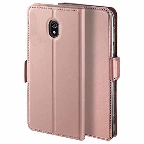 HoneyHülle für Handyhülle Xiaomi Redmi 8A Hülle Leder Flip Hülle Premium Tasche Hülle für Redmi 8A, Schutzhüllen aus Klappetui mit Kreditkartenhaltern, Ständer, Magnetverschluss, Rose Gold