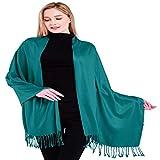 CJ Apparel Teal Verde Diseño de Color Sólido Mantón Nepalés Pashmina Bufanda Envuelto Estola Tira Secondi NUEVO