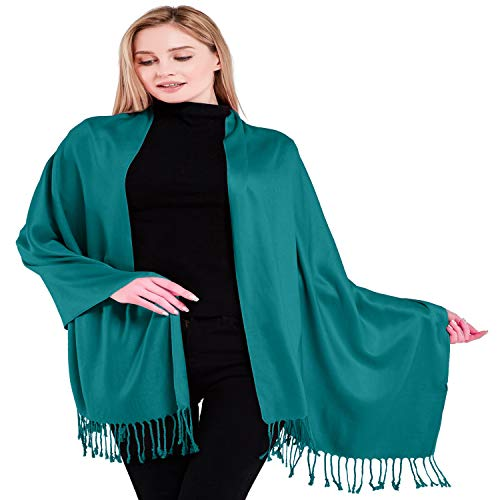 CJ Apparel Teal Green Solid Colour Design Nepalese Tassels Shawl Scarf Wrap Pashmina Seconds NEWSize One Size