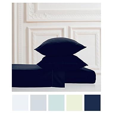 600 Thread Count 100% Long Staple Soft Cotton Sheet Set OEKO-TEX100 Certified, 4 Piece Set,QUEEN SHEETS, Smooth Sateen Weave,15  Deep Pocket,Luxury Bedding,Marrow Hem,NAVY BLUE by Luxuress