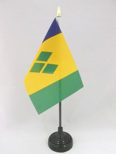 AZ FLAG TISCHFLAGGE ST. Vincent UND DIE Grenadinen 15x10cm goldene splitze - Saint Vincent UND DIE Grenadinen TISCHFAHNE 10 x 15 cm - flaggen