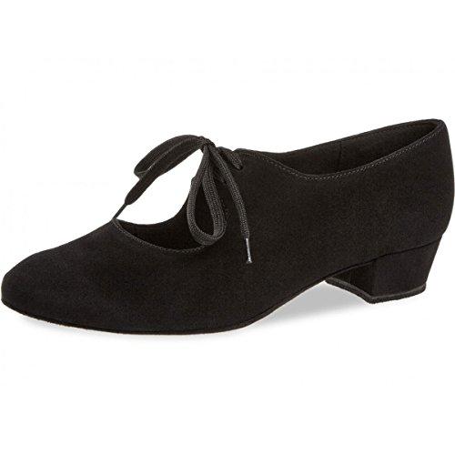 Diamant - Damskie buty do tańca / buty do ćwiczeń 057-029-001 - czarny zamsz - blok 2,8 cm, - Czarny - 36.5 EU