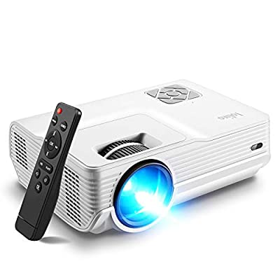 Mini Projector, Iolieo 5500 Lumen 1080P Supported Projectors, 200'' Display 50000 Hrs LED Life, Dual Speakers Portable Projector, Compatible with HDMI, USB, VGA, TF, PS4, Laptop, DVD for Home Cinema