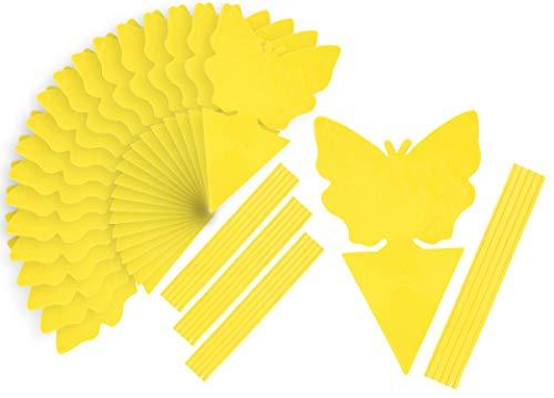 com-four® 20x Gelbfalle Fliegenfallen für Außen und Innen - Dekorative Leimfalle gegen Fliegen und Blattläuse - Insekten Klebe-Fallen in Schmetterlingsform (20 Stück - Fliegenfalle)