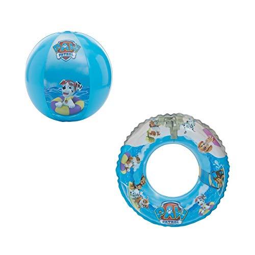 PAW PATROL Wasserball / Strandball & Schwimmring / Schwimmreifen Chase, Rubble und Marshall