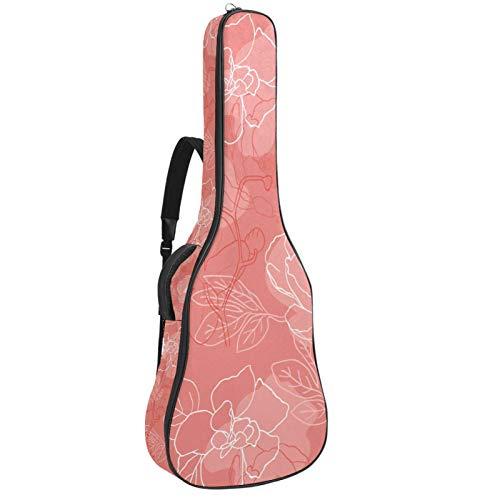 Funda para guitarra acústica de 41 106 cm, acolchada, impermeable, doble correa ajustable para el hombro, funda para guitarra con lazo para colgar en la espalda, flores de peonía, fondo de coral