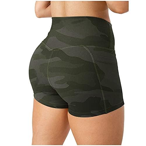 EUCoo Pantalones cortos de ciclismo de cintura alta para mujer, pantalones cortos de yoga con cintura cruzada, para correr, sin bolsillo (A)