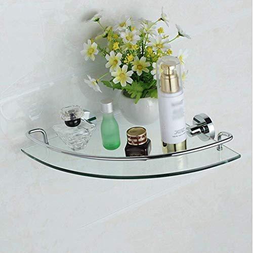 PIVFEDQX Toalleros Estantes Triangulares para Baño Estante De Baño De Vidrio Templado De Doble Capa Marco De Pared De Ducha De Esquina En Cobre Macizo (tamaño: Una Capa) Accesorios De Baño
